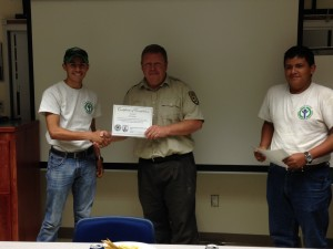 YCC members Daniel Santana and Erik Hernandez and USFWS Project Leader Rob Jess